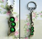 TRIPLETS THREE PEAS IN A POD CHARM KEYRING KEYCHAIN OR NECKLACE PENDANT
