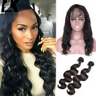 360 Lace Frontal with Bundle Body Wave Peruvian Virgin Hair with Lace Closure 8A