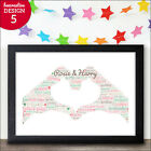 Personalised Wedding Gift Mr & Mrs 2 Hands Print - Wedding Word Art Print Gift