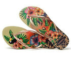 Havaianas Women`s Flip Flops Slim Tropical Sandals Sand Grey with Rose Gold NWT