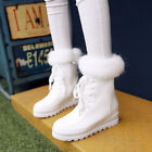 US4-11 Womens Warm Winter Lace Up Ankle Boots Fur Lined Shoes Casual Snow Chic
