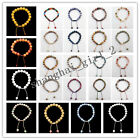 8mm/10mm Handmade Mixed Gemstone Round Beads Adjustable Bracelet 7.5 inch XJ050