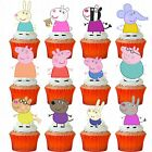 24 x PEPPA PIG & FRIENDS STAND UP PRECUT Edible Wafer Cupcake Toppers