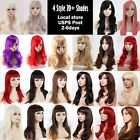 black hair with ombre red - Wigs With Bangs Soft as Real Hair Costume Wig Curly Black Brown Blonde Red White