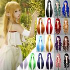 Women's Multicolor Long Straight Curly Wig Halloween Anime Cosplay Party Wigs