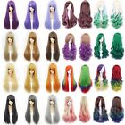60/80/100cm Cosplay Party Wig Long Straight Curly Wavy Dress Costume Full Wigs