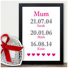 PERSONALISED Christmas Gifts for Mum Mummy Mother - We Love You Dates of Birth