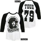Authentic Waylon Jennings '79 Tour Raglan T-Shirt White Black S-3XL NEW