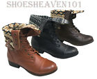 Women's Military Combat Mid Calf Boot Lace Up Low Heel Round Toe Shoes