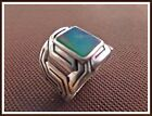 MENS TURKISH MADE JEWELRY 925 SILVER /  RING SIZE EMERALD   9 ONYX   9.75 US