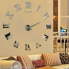 Large 3D Wall Clock DIY Mirror Sticker- Roman Numeral Home Living Room Decor