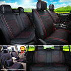 Black/Red PU Leather 5-Seats Auto Car Seat Cover Front + Rear Set --S / M / L