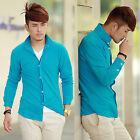 Men's Clothing Fashionable Long Sleeve Button-Front T-Shirt Top Casual Solid New