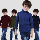 Kids Sweater Winter Boys Girls Pullover Turtleneck Warm Knitted Jumpers Outwear