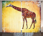 Giraffe Curtains 2 Panels Set Vintage African Scenic Home Decor