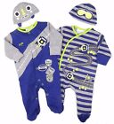 Baby Boys Sleepsuit Baby Grow And Cradle Cap Racing Car Two Styles To Choose
