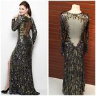 NWT PRIMAVERA COUTURE 9925 LONG SLEEVE SEQUINED GOWN BLACK-GOLD SHEER BACK $479