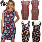 BODYCON WIGGLE PINK FLAMINGO DRESS/ TOP  SIZE 8 - 16 CUP CAKES ALTERNATIVE GOTH