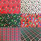 Multicoloured Abstract Christmas Trees XMAS Bunting Craft Cotton Fabric