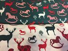 Christmas Rocking Horse Reindeers XMAS Bunting Craft Cotton Fabric