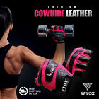 STYLISH COW HIDE LEATHER GLOVES GYM WEIGHT TRAINING CROSS FIT EXERCISE MEN WOMEN