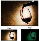 Red Wine Pouring into Glass Wine Art decor - Glow in the Dark Canvas Art Print