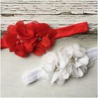 Miss CLAUDIA - CHRISTMAS Newborn Baby Girls Flower Stretch Headband Red/White