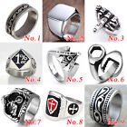 Mens Stainless Steel Knight Templar Biker Motorcycle rings Punk Skull Ring Xmas