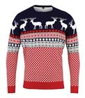 Christmas Shop Adults/Unisex Nordic Navy/Red Jumper. Stylish Reindeer/Stag CS156
