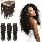 360 Lace Band Frontal Closure with Baby Hair and 3Bundles Deep Wave 8A Brazilian