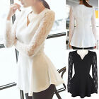 Summer Casual Korean Chiffon Ladies Women Sexy Lace Flared Blouses Tops T-shirts