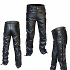 "ARD® Men's Thick Cow Leather Side Laces Jeans Model Pant Waist Size 28"" to 46"""