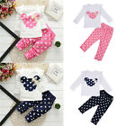Baby Kids Girl Boy Casual Sports Polo Print Outfit Set Long Sleeve Top+Trousers