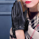 Women's 360° Smart Touch Screen Genuine Leather Gloves Punk Style Rivets Black