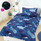 Glow In The Dark WHALE OF A TIME Ocean Quilt Doona Duvet Cover Set SINGLE DOUBLE