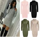 Womens Long Sleeve Cowl Polo Neck Cable Knitted Jumper Mini Dress Top 8-22 New