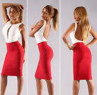 New Womens Sexy Cherry Red Elastic Luxe Pencil Skirt Sexy Bodycon Skirts