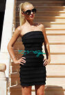 Womens New Sexy Black Ruffle Tiered Strapless Elastic Bandage Dress Bodycon Hot