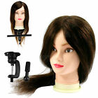"""14""""/18""""/22"""" Mix Style Long Human Hair Hairdressing PracticeTraining Head w/Clamp"""