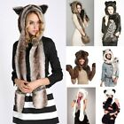 Unisex Womens Faux Fur Animal Hat with Long Scarf Paws Mittens Gloves Beanie Cap