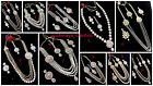 White Kundan Stone Pearl Gold Tone Bollywood Fashion Long Rani Haar Necklace Set