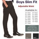 Boys Slim Fit School Trousers Black Grey Navy Pants Skinny Adjustable Waist