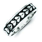 Sterling Silver Antiqued Heart Ring - Ring Size: 6 to 11