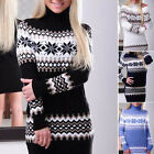 Ladies Warm Long Sleeve Slim Sweater Jumper Knitted Cardigan Bodycon Mini Dress