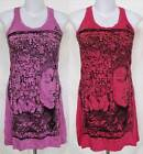 Buddha & Lotus Print Wrinkle Soft COTTON MINI TANK DRESS Tunic TOP Sz S Small