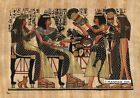 "Egyptian Papyrus Painting - Party and the Cat 8X12"" + Hand Painted #82"