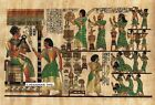 "Egyptian Papyrus Painting - King Tut & Asians 8X12"" + Hand Painted #60"