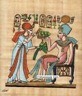"""Egyptian Papyrus Painting - Tutankhamen and his wife 8X12"""" + Hand Painted #45"""