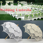 Ivory White Cotton Lace Wedding Umbrella Wood Handle Bridal Parasol Handmade UK