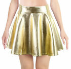 Hologram Holographic Shiny Silver Metal Mini Skirt Laser Pleated Party Clubwear